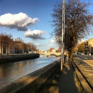 Walking along the River Liffey
