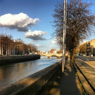Walking along the River Liffey