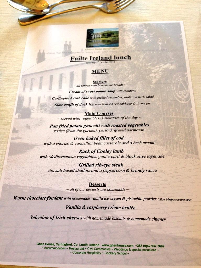 TBEX menu at Ghan House, Carlingford Ireland